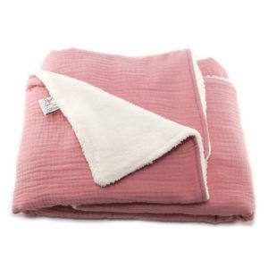 couverture bébé rien que des betises rose thé