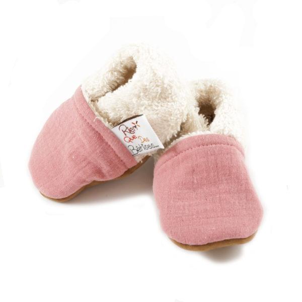 chaussons bebe double gaze ete mixte rien que des betises